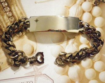 "1 Silverplated 9"" Men's ID Bracelet with Diamond Chip"