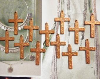 12 Coppercoated Religious Crosses