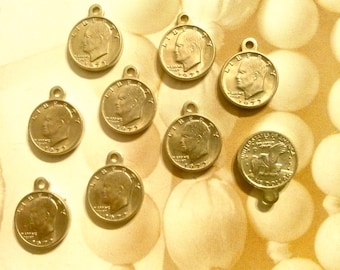 8 Silverplated 1972 Liberty Dollar Coin Charms