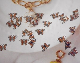 24 Vintage Silverplated Amber Butterfly Pendants