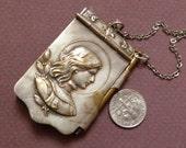 Antique Art Nouveau  French Souvenir Joan of Arc  Dance card aid  memoire   Pendant  Chatelaine Jewelry