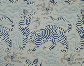 CLARENCE HOUSE Chinoiserie Tibet Dragon Linen Toile Fabric 10 Yards Pale Blue