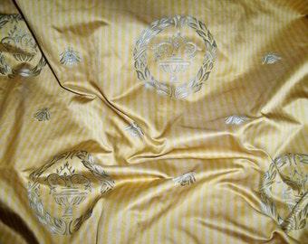 SCALAMANDRE MONROE Bee ARABESQUE Silk Damask Fabric 5 Yards Yellow Blue Cream