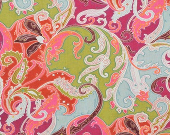 CLARENCE HOUSE ESMERALDA Paisley Linen Fabric 10 yards Magenta Multi