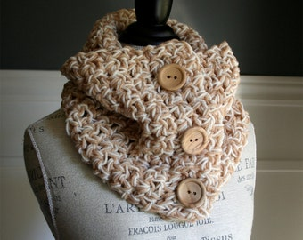 Beige and Tan Versatile Scarf with 3 wooden buttons, crocheted