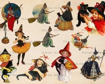 Vintage Halloween Images - Witches - Set 1 - 10 (plus 1) Clipart/Digital Images - Instant download