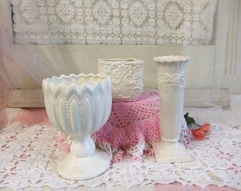 3 Vintage Off White Planter and Vase Set Shabby Rustic Primitive Inarco  B204