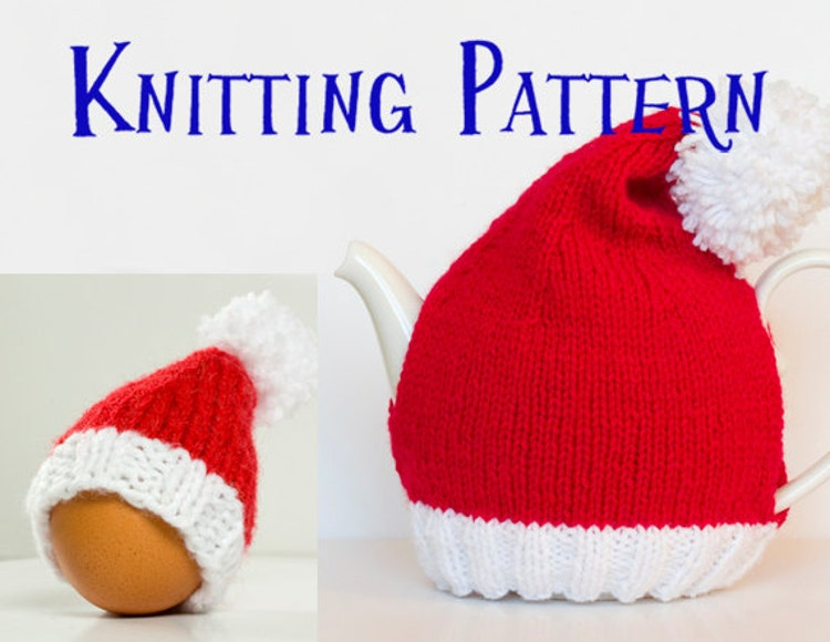 PDF Knitting Pattern Santa Hat Tea & Egg Cozies DIY by SCHandmade