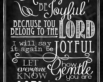 Scripture Art  - Philippians 4:4-5 Chalkboard Style