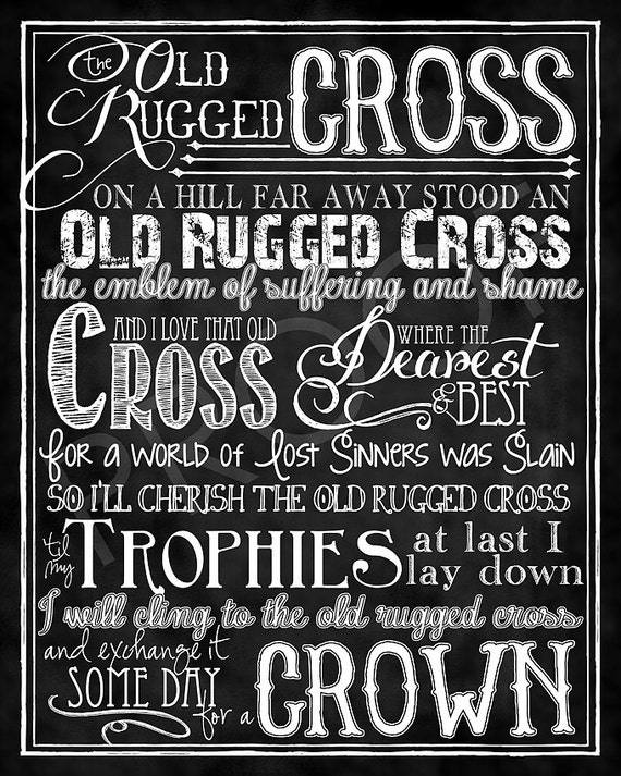 The Old Rugged Cross Hymn Chalkboard Style