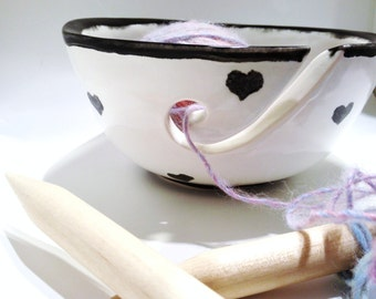 Knitting Yarn Bowl Black and White Hearts Porcelain Adorable MADE TO ORDER