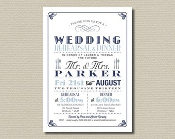 Printable Wedding Rehearsal and Dinner Invitation - Vintage Poster design in Navy, Blue and Grey (RD35)