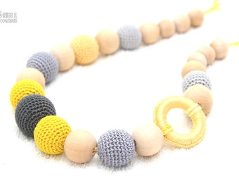 Nursing mom necklace-Teething Breastfeeding necklace in grey and yellow with wooden ring