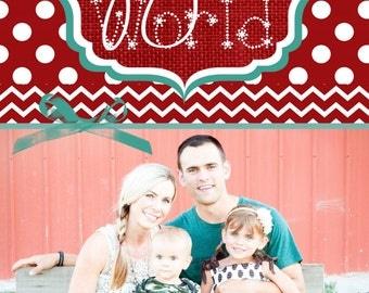 Custom Polka Dot and Chevron Photo Christmas Cards