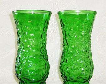 Vintage Emerald Green Hoosier Glass Vases (2), Vintage Green Vases, Vintage Hoosier, 2 Vintage Green Hoosier Vases, Home Decor, Green Vases,