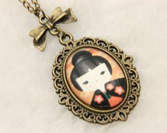 Necklace japanese girl kokeshi 1825C
