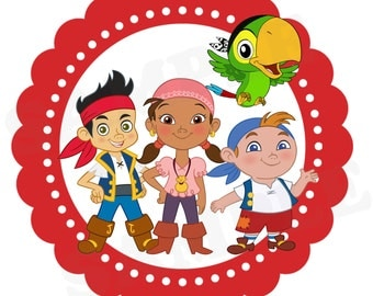 """Jake and the Neverland Pirate or Peter Birthday centerpiece 6""""- Printable File"""