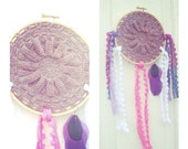 Dream Catcher with Vintage Crochet Doily and Feather