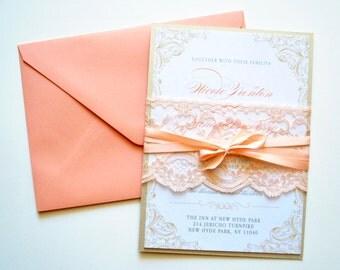 Peach Wedding Invitation -  Wedding Invitations, Lace, Rustic Wedding Invitations