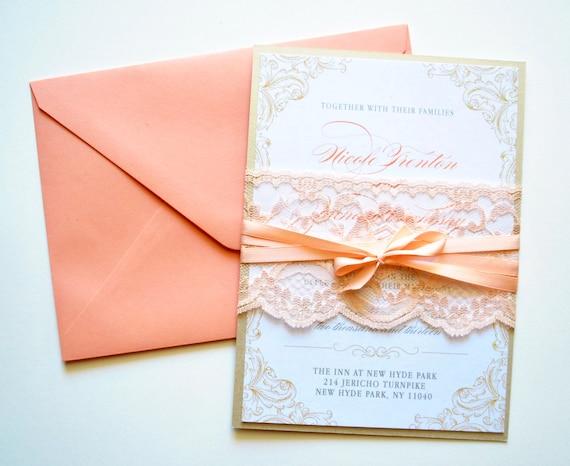 peach wedding invitation wedding invitations lace rustic, Wedding invitations