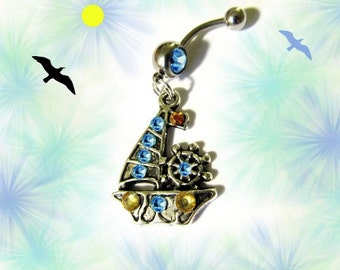 SALE--Belly Ring, Antique Silver Nautical Ship Sail Boat with Aqua Sea Blue and Gold Crystals, Belly Button Jewelry, For Women and Teens