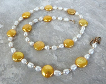 "Gold Coin Pearl Strand Necklace w White Pearls, Handmade: ""Helios"""