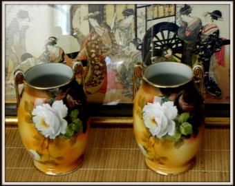 Pair of Hand Painted Noritake Vases