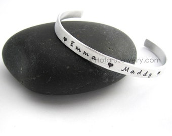Personalized Name Mommy Silver Aluminum Bracelet Personalized Kids Names Anniversary Birthday Mother's Day Christmas Gift