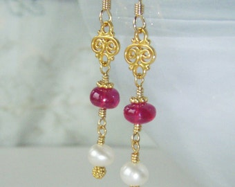 Gold earrings with longido ruby & pearls, gold vermeil jewelry OOAK