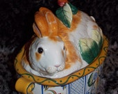 "Fitz and Floyd Classics ""Ricamo"" 1991 Bunny Tureen - Beautiful and Elegant - Sweet Bunny - The Perfect, Sweetest Tureen"