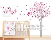 Tree and butterfly wall decal Baby nursery wall decals children kids playing room decal- Z142z by Cuma
