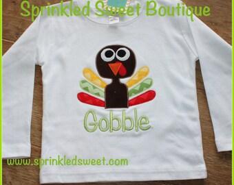 Boys Thanksgiving Turkey Custom Applique Monogram Gobble Gobble Shirt