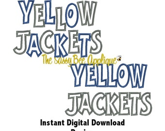 DD YELLOW JACKETS Casual Applique - Machine Embroidery Design - 3 Sizes - Straight & Staggered Lettering - Instant Download