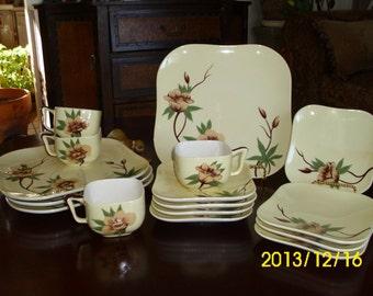 Weil Ware California-Malay Rose-Creamer/Sugar/Gravy/Dinner/Dessert Plates/Coffee/Tea Cups/Saucers-Yellow