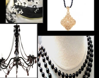 Black Pearls on a String, Black, Black Pearls, Scrapbooking Supply