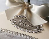 Bridal Hanger Wedding Dress Hanger Personalized AVAIL Swarovski Crystals Audrey in Heirloom Ivory  & Ships out in 2 Days :)