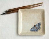 blue butterfly plate, handpainted on porcelain, ring holder soap dish little china tray