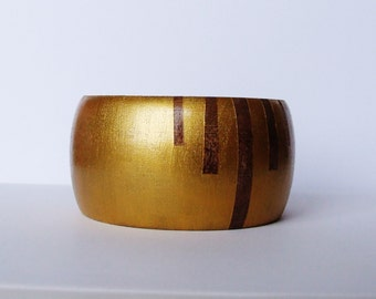 Wooden Bangle Geometric Stripe Gold