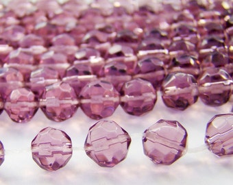 Vintage 6mm Transparent Light Amethyst Faceted Glass Beads - 30