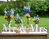 White Mr and Mrs Signs, Wedding Signage, Bride and Groom Signs, Reception Decor