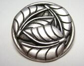 Shank Metal Button Silver Carved Leaf 22 mm