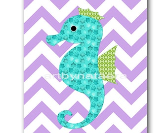 Sea Seahorse Nursery Kids Wall Art Baby Nursery Decor Baby Girl Nursery Kids Art Baby Room Decor Nursery Print Girl Print Purple Blue