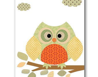 Owl Decor Owl Nursery Baby Nursery Decor Baby Boy Nursery Kids Wall Art Kids Art Baby Room Decor Nursery Print Boy Print Owl Orange