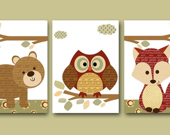 Neutral Nursery Canvas Art Childrens Room Kids Art Kids Wall Art Baby Nursery Decor Baby Room Decor set of 3 Red Fox Nursery Owl Nursery /