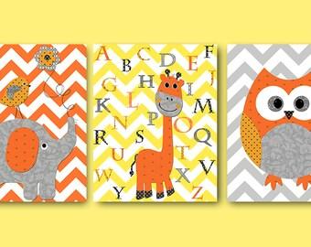 Alphabet Nursery Alphabet Giraffe Nursery Elephant Nursery Owl Nursery Baby Girl Nursery art Kids Art Nursery Print set of 3 gray orange