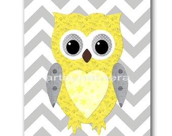 Kids Wall Art Owl Nursery Owl decor Baby Nursery Decor Baby Girl Nursery Kids Art Baby Room Decor Nursery Print Girl Print Yellow Gray