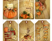 Primitive Harvest Autumn Fall Pumpkin Acorn Hang Tags 13123 Printable Digital JPEG File Instant Download Uses Dolls Bears Gifts Scrapbooking
