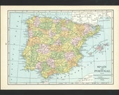 Vintage Map of Spain Portugal From 1935 Original