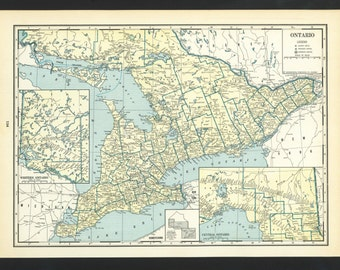 Vintage Map of Ontario Canada From 1935 Original