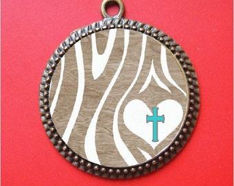 Wood grain cross necklace